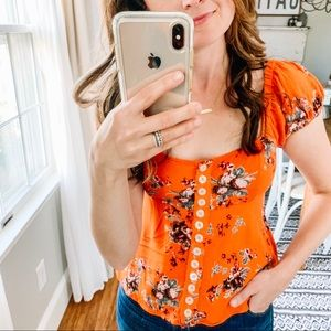 Free People Close to You Orange Floral Top